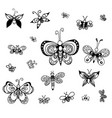 set of butterflies of different styles vector image