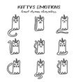set of kitty emotions in hand drawn style vector image