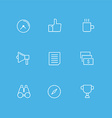 Set of Simple Line Art Business Icons Time Coffee vector image
