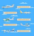 small propeller airplanes with banners in sky vector image vector image
