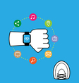 Smart watch while running vector image vector image