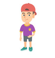 smiling little caucasian kid boy in a ball cap vector image vector image