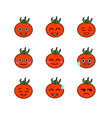 tomatoes emojicons set with isolated white vector image vector image