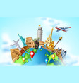 travelling tourism poster design on earth vector image vector image