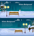 winter background set two pictures benches vector image vector image