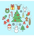 Christmas and New Year 2017 Thin Line Icons vector image