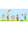 Kids playing - funny banner vector image