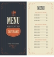 menu with cutlery fork spoon and knife vector image