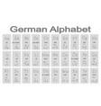 set of monochrome icons with german alphabet vector image