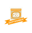 28 september calendar with ribbon vector image