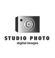 abstract studio photo camera logo design template vector image