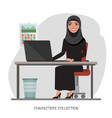 arab businesswomen is using a computer smiling vector image