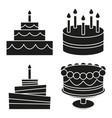 black and white birthday cake silhouette set vector image