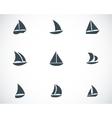 black sailboat icons set vector image vector image