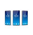 blue frameless smartphone mockup set 3d vector image vector image