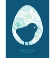 blue line art flowers chicken silhouette vector image vector image