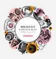 breakfast trendy wreath design morning food and vector image vector image