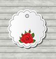 Card with red rose for Valentine Day on wooden vector image vector image