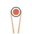 chopsticks holding sushi roll vector image