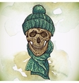 Christmas Hipster Skull Winter vector image