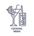 cocktail menu line icon concept cocktail menu vector image vector image