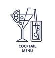 cocktail menu line icon concept cocktail menu vector image
