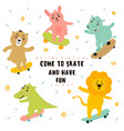 crocodile lion bunny bear hippo skateboarding vector image