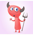 cute cartoon devil with trident vector image