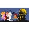Cute colorful Halloween kids in costume for party vector image vector image