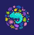 cute iguana in circle vector image
