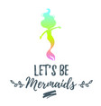 cute mermaid character silhouette vector image vector image
