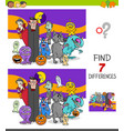 differences game with scary halloween characters vector image vector image