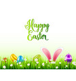 easter eggs on grass with bunny rabbit ears set vector image vector image