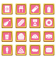 fast food icons pink vector image vector image