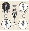 Flame torch vintage symbol emblem label collection vector image vector image