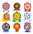 fortune wheel spin game icons roulette vector image