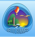 hello summer logo template sunset with balloon vector image