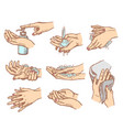 how to wash hands set vector image vector image