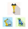 isolated object of robot and factory logo set of vector image vector image