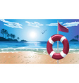 Lifebuoy on the Beach vector image vector image