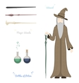 Magic Wizard with stones and things magical vector image vector image