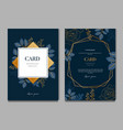 navy blue card with golden leaves card and vector image vector image