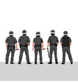 police line row policemen stands vector image