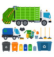 set garbage truck icons flat vector image