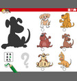 shadows task with cartoon dogs characters vector image vector image