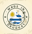 Stamp with map flag of Uruguay vector image vector image