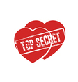 two hearts top secret stamp vector image vector image