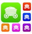 vintage wooden cart set collection vector image vector image