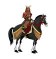 warrior samurai with armor traditional riding vector image vector image