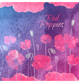 Waterolor red poppies on purpure background vector image vector image